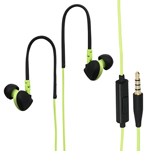 "Hama Sport In Ear Kopfhörer Headset  ""Run"" (2-in-1, flexible Ohrbügel, Mikrofon und Telefonfunktion, inkl. Verlängerungskabel 3,5 mm Klinke, Tasche, wasserfest IPX5) schwarz/grün"