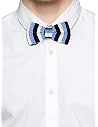 Tossido Knitted Blue Striped Bow Necktie (TBNK38)