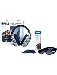 Banz BABY BUDZEE Combo Casques Oreillères de protection acoustique + Lunettes de Soleil pour enfants de 0 à 2 ans.