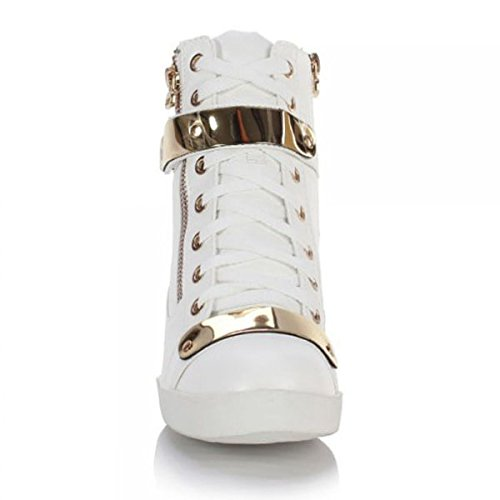 SOLE Bianco HOT Similpelle Stivali donna dpCAZxqY