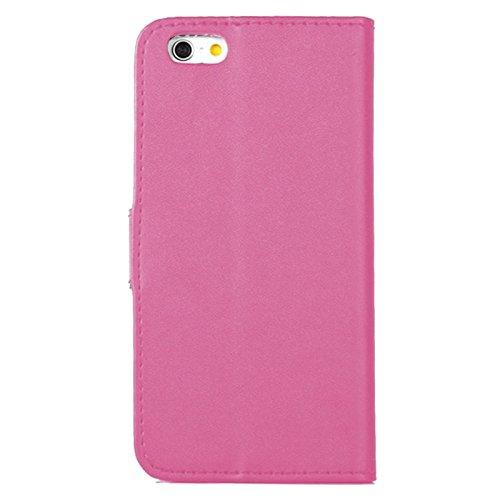 EximMobile - Book Case Handyhülle für Apple iPhone 4S mit Kartenfächer in Schwarz | Apple iPhone 4 Schutzhülle aus PU-Leder | Handytasche als Flip Case Cover | Handy Tasche | Etui Hülle PU-Ledertasche Pink