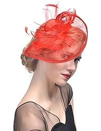 dressfan Diadema Fascinator Sombrero Pluma Semicircular Sombrero Tocado  Banquete Novia Adornos para el Cabello ec2500fc55b3