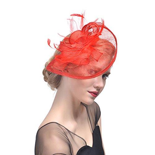 QXX Hochzeits-Hut-Brautfeder-Haar-Klipp-Kopfschmuck-Bankett-Foto-Kopfschmuck-Mehrfarbenhaar-Zusätze (Farbe : ()