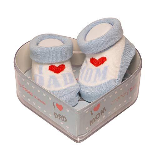 Neugeborene Babysocken 0-4 Monate Baby-Mädchen | Dicke Baumwolle & rutschfeste Griffe | Perfekter Geschenk für Neugeborene Babys & Babyshowers | Blau