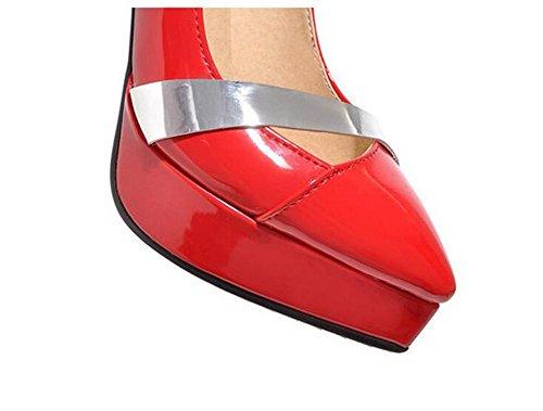 Bocca superficiale impermeabile della piattaforma Court Pelle Vernice Scarpe primavera e in autunno Thin Tacchi alti lotta scarpe di colore red