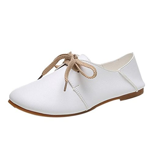 Longra Donne Scarpe comode Luce rotonda Lace Up Granny Flats Shoes Bianca