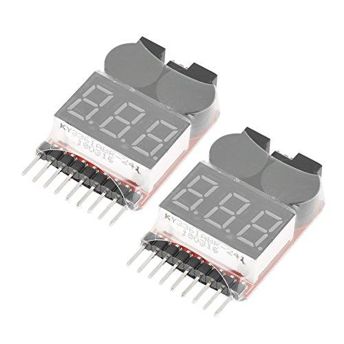 2 Stücke 2 in 1 RC 1-8 S Lipo Batterie Tester Monitor Niederspannung Summer Alarm mit Led-Indikator für Lipo LiFe LiMn Li-Ion Akku