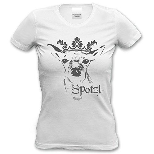 Spotzl - Damen-Mädchen-T-Shirt lustiges Fun-Motiv Volksfest Oktoberfest-Party-Outfit-Bekleidung Trachtenshirt Geweih Farbe: weiss Weiß