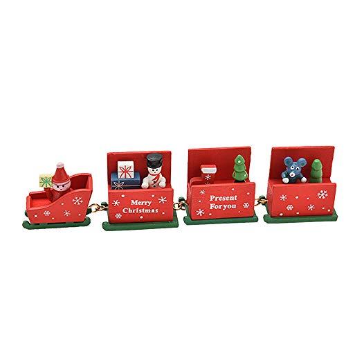 AMUSTER Weihnachten Deko Vintage Zug Tisch Dekorations Spielzeug für Kinder Grün Rot Weiß Weihnachts Kinderzimmer Dekoration Festlich Geschenk (Weihnachten Zug Dekorationen)
