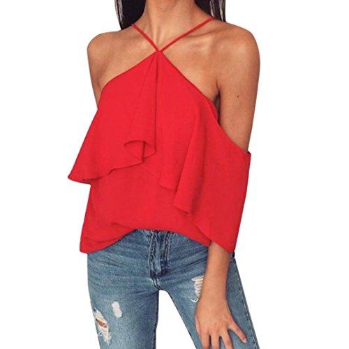 Frauen sleeveless hemd, Huihong Sommer plissiert puff Coole Beiläufige hülse tops damen choker neck karriere Chiffon t-shirts (Rot, S) (Puff-Ärmel Blumen-bluse)