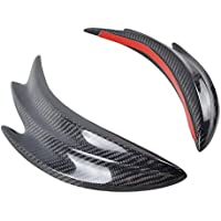 2pcs aleta de tiburón de aleta de tiburón divisor de parachoques delantero de coche universal de fibra de carbono (Color negro)