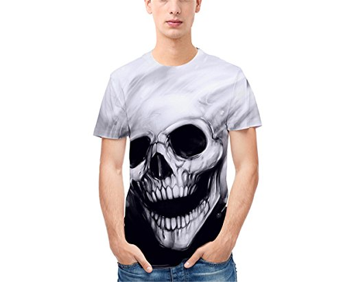 Hippolo Herren 3D Druckt T Shirt Skull Head Digital Rundhals Kurzarm T-Shirt Pullover Sommer Top Bluse (XL) (Xl Skull Head)