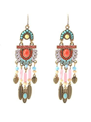 Auf Vorhang Kostüm - Ethnic Boho inspiriert Stil Perlen Drop Vorhang Ohrringe (in Organza Tasche)