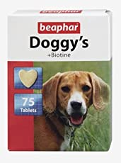 Beaphar Doggy's Biotine Tablets, Dog Supplement for Improved Skin & Coat, Enhances Dog's Immunity, Loaded with Essential Minerals, Multi Tablets Pack (Pack of 1, 75 Tabs)