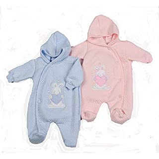 Aardvark quilted all-in-one Low birth weight premature baby boy girl. To fit sizes 3-5 lbs 5-8 lbs Newborn. Available in pink or blue (Newborn, Pink)