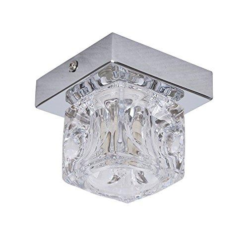 MiniSun - Moderno plafón de cristal y cromado con forma de cubito de hielo