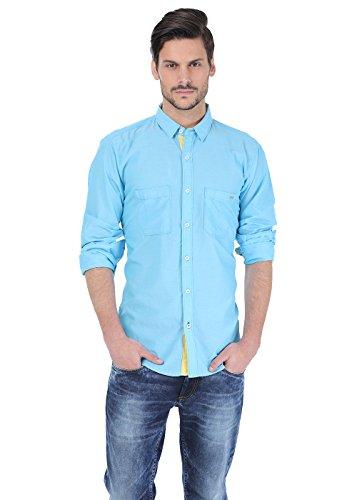 Basics Uomo Casual Camicie Maniche Lunghe Donna Semplice Aqua