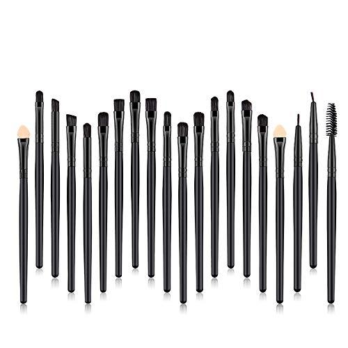 Ensemble de pinceaux à paupières 20pcs pinceaux de maquillage professionnels, kits de pinceau à mélanger les sourcils avec un crayon correcteur- Noir