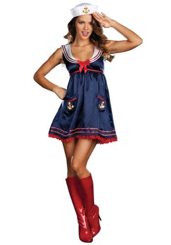Temptations (Dream Girl) Damen Anker Detail Sailor Girl Fancy Dress Damen Kostüm für Erwachsene Outfit Gr. Small, Blau