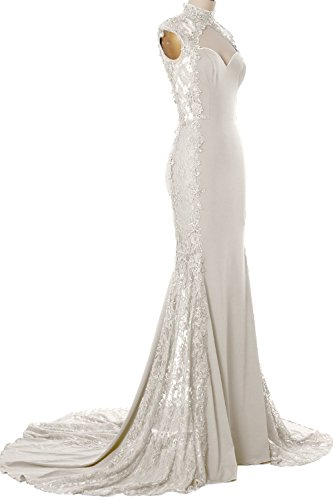 MACloth Women Mermaid High Neck Beaded Lace Jersey Long Formal Evening Gown (EU48, Marfil)