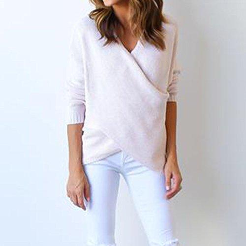 Femmes V Neck Croix avant Hauts en tricot Pull Pull Pullover Pulls à Manches Longues Hiver Mode Pulli Sweatshirt Tops Pullover Vêtements d'extérieur S M L XL Blanc