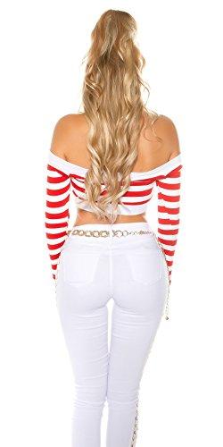 Stripes Langarm Crop Shirt gestreift - Carmen Top Shirt bauchfrei schulterfrei mit Streifen 34-38 Rot