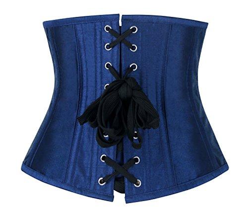 Charmian Women's Gothic Vintage Steel Boned Waist Training Underbust Corset Top Royal blu