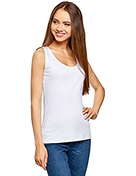 oodji Ultra Mujer Camiseta de Tirantes de Punto Básica