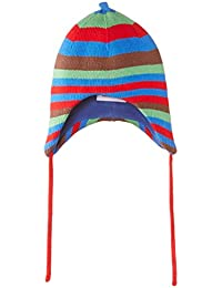 Toby Tiger Boys Blue and Brown Knitted Striped Hat