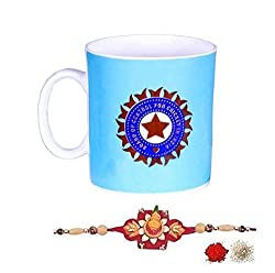 Kalash Rakhi Family rakshabandhan Combo Rakhi Set with Official ICC Cricket India Team Mug for Brother