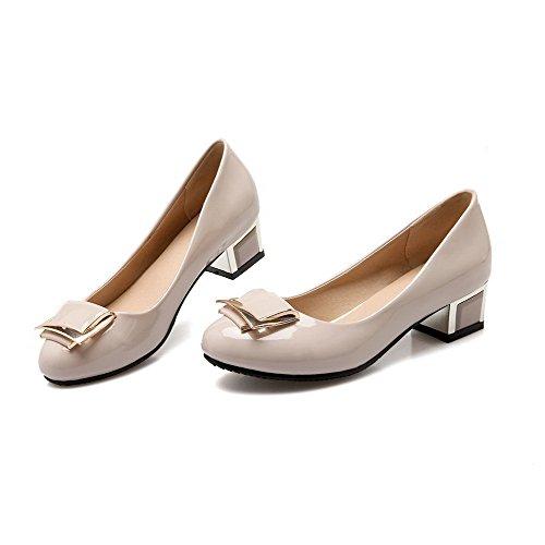 VogueZone009 Femme Verni Rond à Talon Bas Tire Couleur Unie Chaussures Légeres Beige