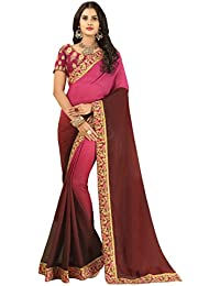 Vastrang Women's Georgette Saree With Blouse Piece(6211KT_Pink Maroon_Free Size)