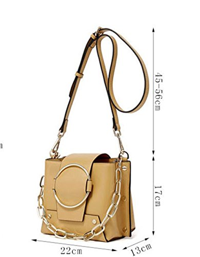 XinMaoYuan borsette in cuoio catene rotonda benne Krafts Borse Tracolla Messenger Bag Donna rivetti Borse Moda,Nero Giallo