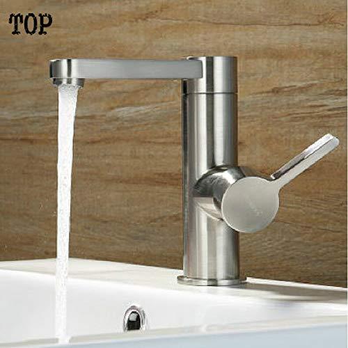 SLTZUB Bad Nickel Pinsel Waschbecken Wasserhahn Mischbatterie Waschtischarmatur Wasserhahn Badarmaturen-, Chrom (Pinsel Wasserhahn Badewanne Nickel)