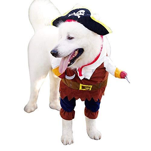 Shanyaid Formidables Haustier Kleidung Piraten Sailor Halloween Weihnachtsfeier Geschenk Kostüm Outfit für Hunde Katze (Size : L)