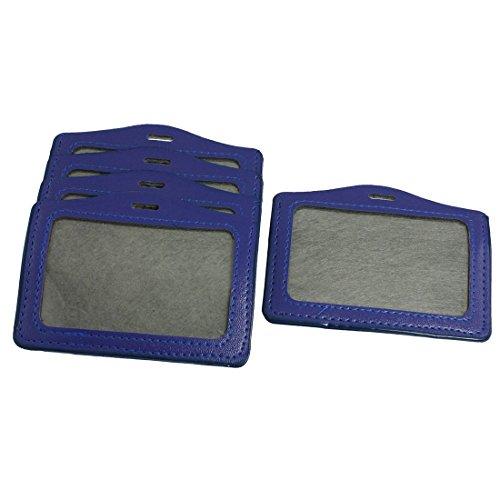5 Pcs orizzontale in pelle sintetica con porta-Badge personale con nome, colore: blu