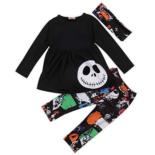 Blaward Halloween Outfit Kleinkind Baby Mädchen Kleidung Menschliches Skelett Gedruckt Langarmshirts mit Hosen 2 Stücke Kleidung Set