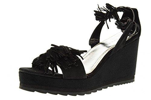 APEPAZZA scarpe donna sandali zeppa LCK05/SUEDE LEA NERO Nero