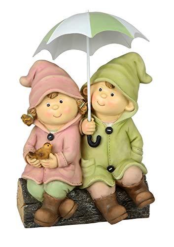 Wichtel Deko Figur Mädchen Junge Paar Metall Schirm Garten Skulptur Kind Zwerg