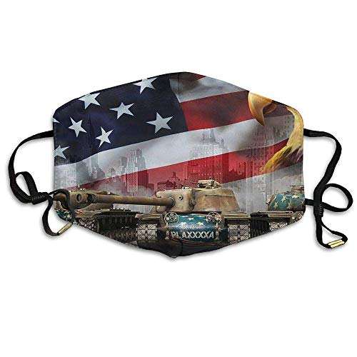 Tank Eagle American Flag Face Mouth Mask Unisex Polyester Comfy Anti Dust Masks -