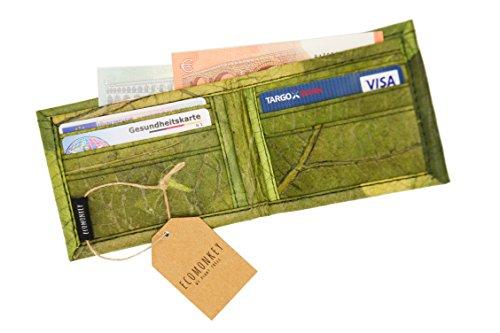 ECOMONKEY® ♻ Geldbörse vegan für Herren & Damen + klein & ohne Münzfach + veganes Leder (Kunstleder) aus Blättern + Slim Wallet + dünner Geldbeutel … (Grün) - 2