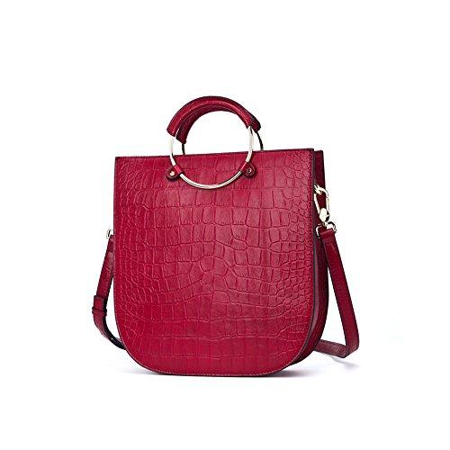 Yvonnelee delle donne di modo del sacchetto di cuoio della borsa spalla dell'unità di elaborazione borsa a tracolla pelle Shopper elegant Borse Rosso