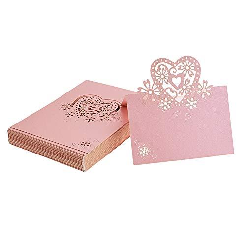 Flowow 50x rosa cuore scheda in bianco taglio laser tavolo intagliato mark nome luogo carte vetro cartolina segnalibro segnaposto perlato segnatavolo carta bomboniera per matrimonio segna posto