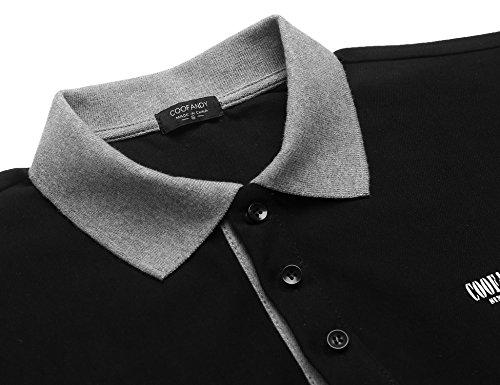 Burlady Herren Poloshirt Kurzarm Einfarbig Sommer T-Shirt Men's Polo Shirt 31-Schwarz