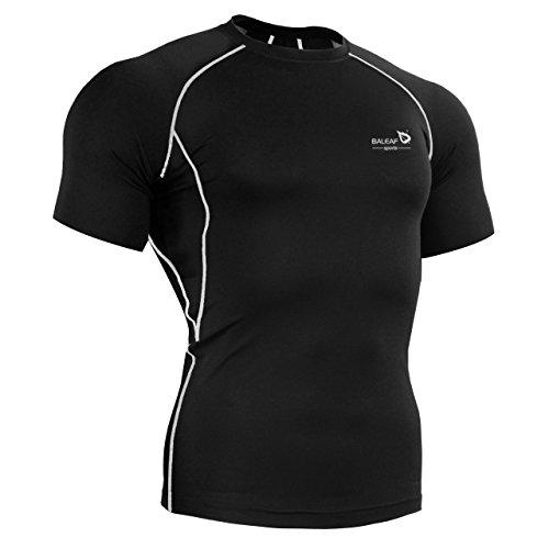 Radfahren Fitted T-shirt (Baleaf Herren Radtrikot Kompressionsshirt Kurzarm Grau XXL)