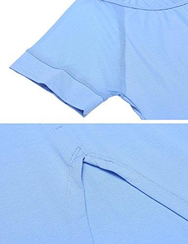 Ekouaer Damen Schlafanzug Hausanzug Patchwork O-Ausschnitt Kurzarm Tops mit elastischen Taille Shorts pyjama Nachtwäsche Sets Blau
