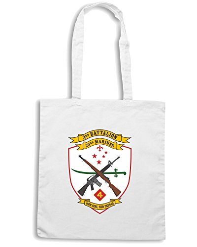 T-Shirtshock - Borsa Shopping TM0342 3rd Battalion 23rd Marine Regiment USMCR usa Bianco