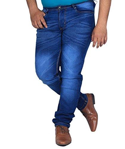 L,Zard Men's Fabric Slim Fit Stretchable Jeans (Blue, 36)