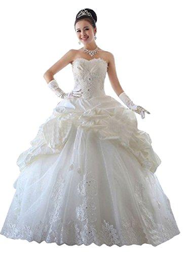 Chiffon Sweetheart Stock (beauty-emily Hochzeit Kleid für Frauen Trägerlos Ball Satin 1920er Long Bubble Gr. 46, weiß)