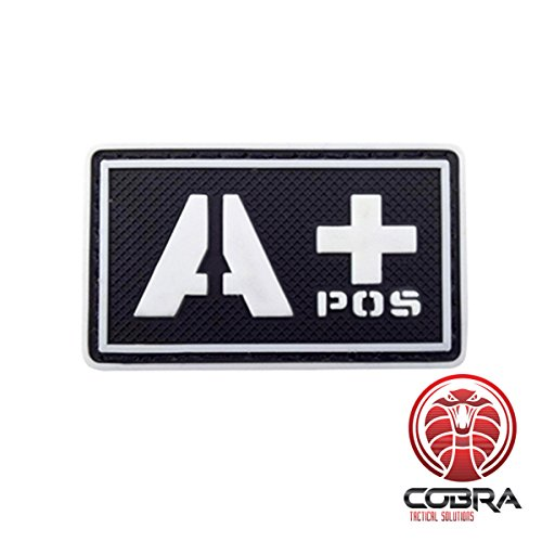 Cobra Tactical Solutions Patch Militare 3D in PVC con tipo sangue A+ POS con velcro per Airsoft/Paintball nero/bianco/Fluo